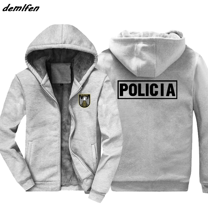 Fashion Inspired Spain National Police Special Forces GOES Espana Policia Design hoodie Men Keep warm zipper Jacket Sweatshirt
