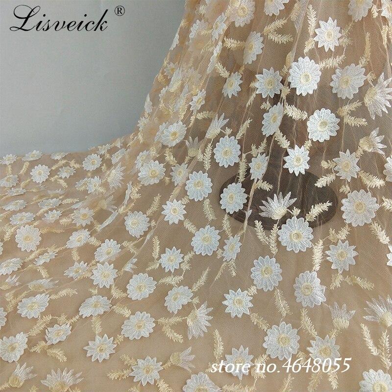 1 stocznia stokrotka kwiat francuska koronka na siateczce tkaniny 100% poliester tiul szycie koronki tkaniny DIY suknia ślubna spódnica odzież akcesoria