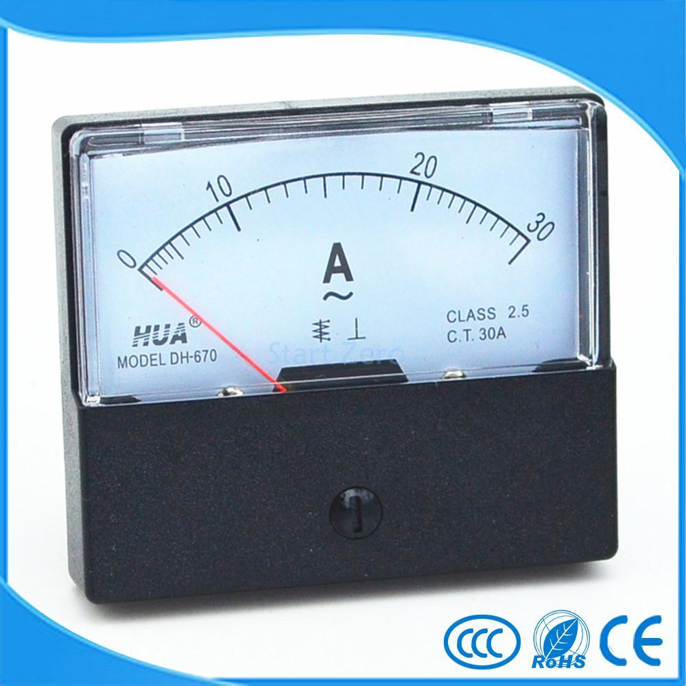 DC 0-30A Analógico Medidor de Painel Amperímetro Calibre DH-670
