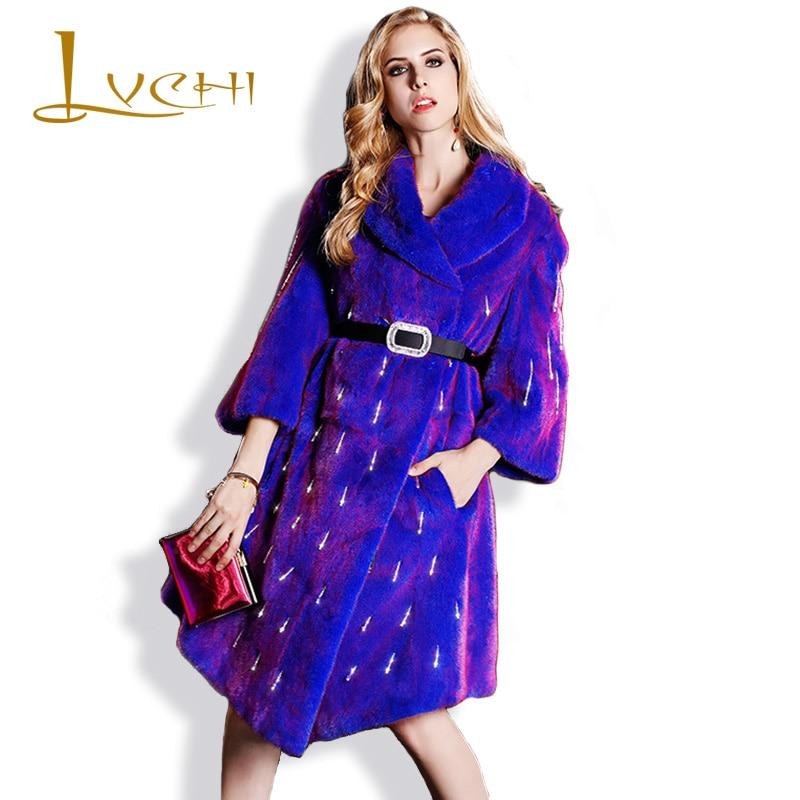 LVCHI Noble Vintage venta de moda túnica de visón abrigos de cuero genuino mandarín Collar cálido visón abrigo de mujer joven abrigo de piel de visón