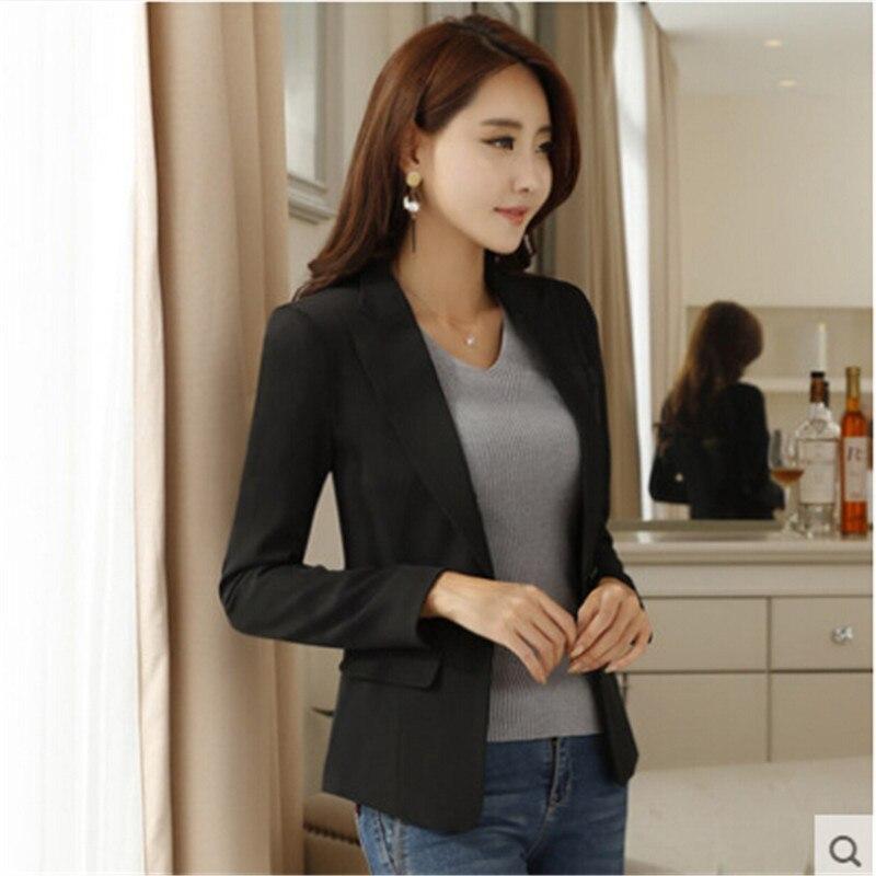 S-4Xl más tamaño mujeres Blazer 2019 primavera otoño Oficina señora moda Slim largo Delgado un botón negro traje chaqueta Formal a3140