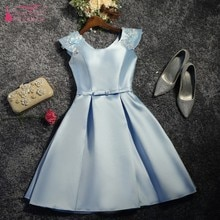 A-line Satin Sleeveless Homecoming Dress Simple Party Dress JQ455