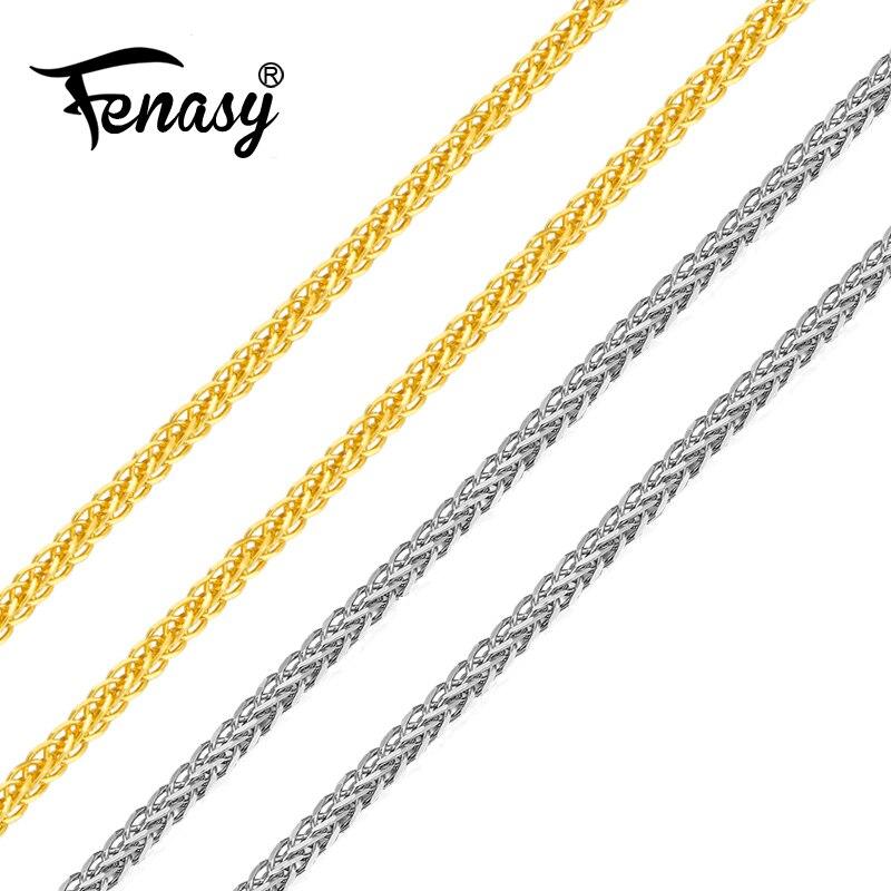 FENASY حقيقية 18K الأبيض الأصفر سلسلة ذهبية وردية سعر التكلفة بيع نقية 18K عقد ذهب للحب أفضل هدية للنساء