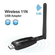 Mini USB Wifi adaptateur antenne Wifi carte réseau Lan carte réseau sans fil Dongle 300Mbps 20dB 802.11b/n/g USB Ethernet adaptateur