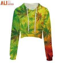 Женский укороченный пуловер с капюшоном Alisister, короткий пуловер в стиле хип-хоп с принтом листьев и черепов на лето и осень
