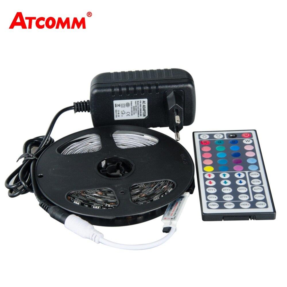 Tira de luces LED RGB 5050, 5 metros, 300 LEDs, negro, PCB RGB, luz de cinta de diodo LED con 44 controlador de teclas RGB 12V 3A, adaptador de corriente