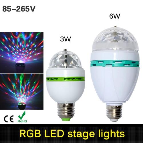 3w 6w E27 RGB luz Led para lámpara rotación automática bombilla Led RGB escenario mágico luz 85-265V 110V 220V Disco Fiesta de DJ de baile de fiesta de la bombilla