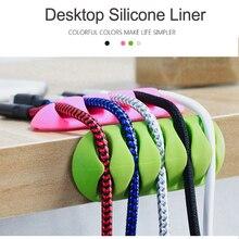 Câble enrouleur Silicone câble organisateur USB Flexible câble gestion Clips support de câble pour souris casque écouteur