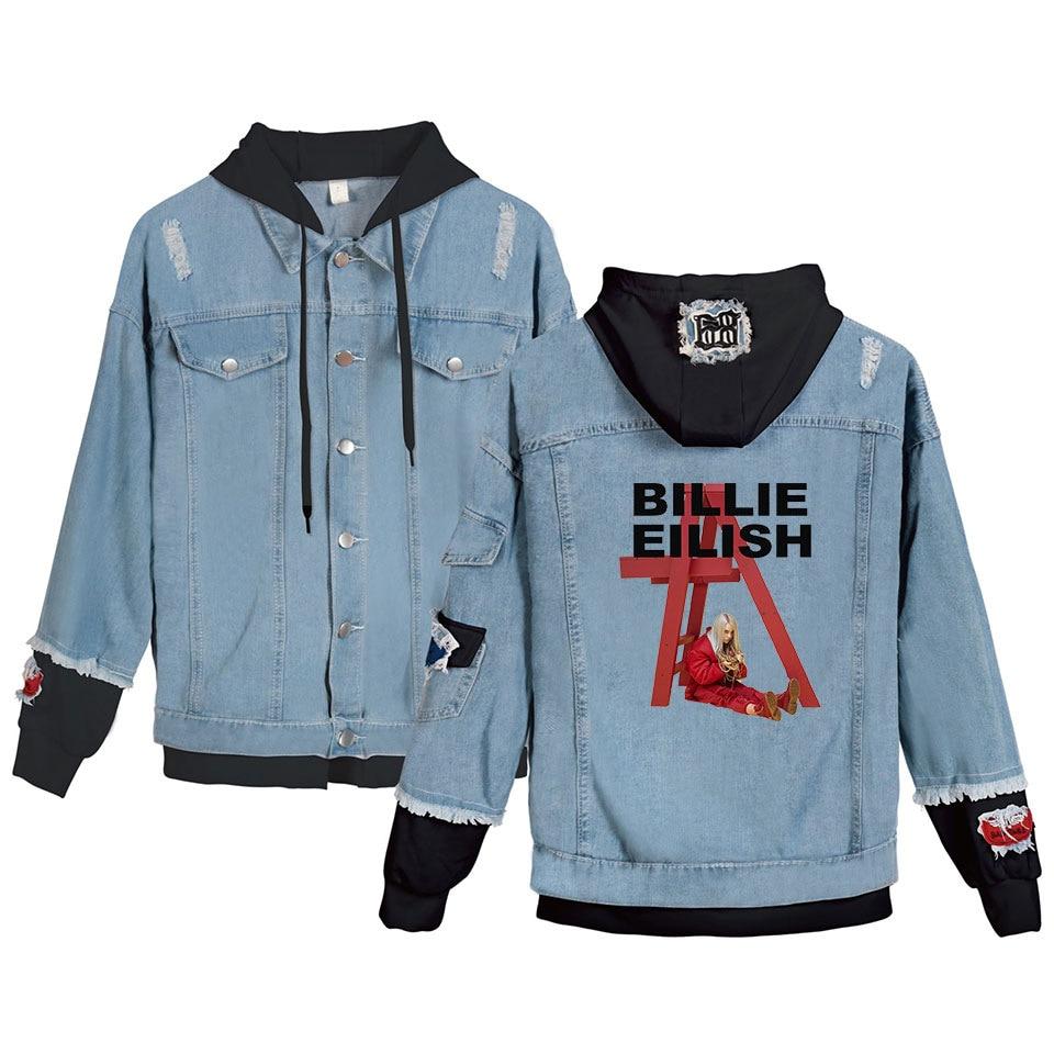 2019 Billie Eilish retrato gráfico Demin chaqueta Chula con capucha chaqueta de vaqueros de Billie Eilish