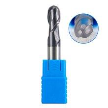 HRC50 2 flüt kafalı matkap ucu Frezeler 1 MM-12 MM 8 MM 6 MM 5 MM standart tungsten çelik bilye parmak freze çakısı CNC alaşım freze kesicisi