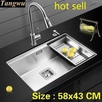 free shipping standard luxurious mini kitchen manual sink single trough durable food grade 304 stainless steel hot sell 58x43 cm
