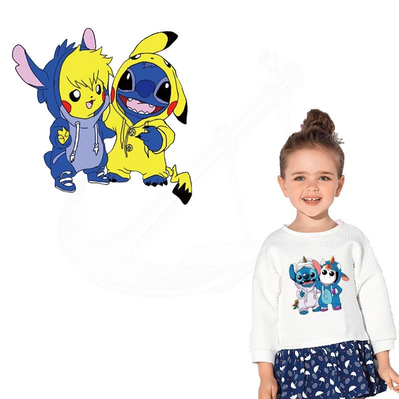Nuevos parches de punto y Pikachu de hierro para ropa DIY, camiseta para niños, parches de ropa, adhesivo por transferencia térmica