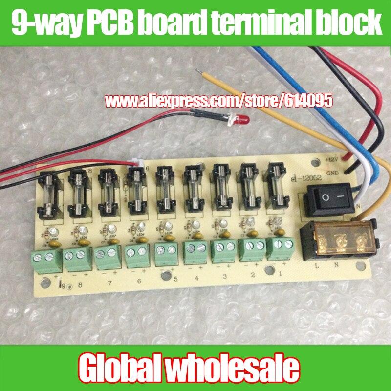 Distribución de energía de 12 V CC bloque de terminal de placa PCB de 9 vías para cambiar el cableado de corriente eléctrica LED interruptor