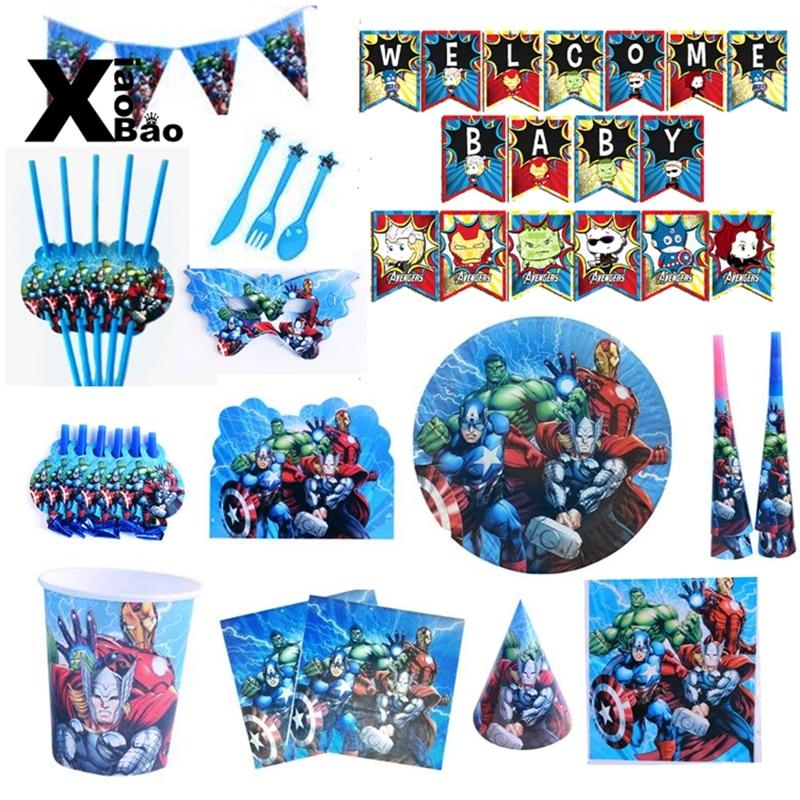 Os vingadores tema papel talheres placa copo banner óculos convite toalha de mesa topper balão saco favor festa aniversário presente