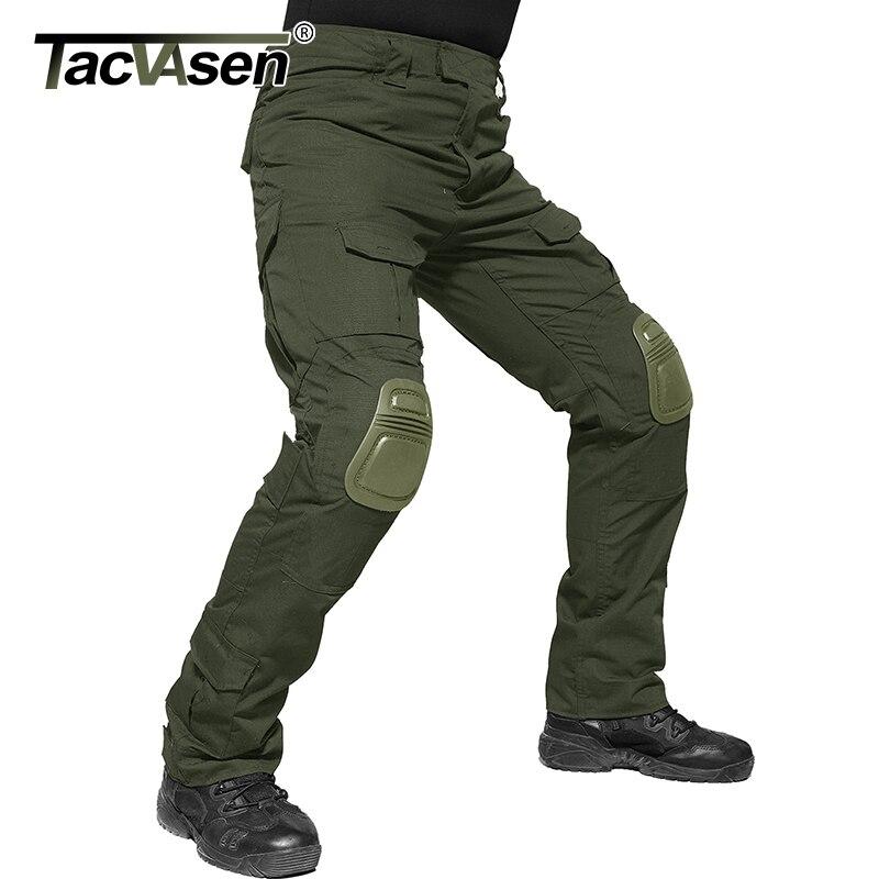 TACVASEN Männer Militär Hosen Mit Knie Pads Airsoft Tactical Cargo Hosen Armee Soldat Kampf Hosen Hosen Paintball Kleidung