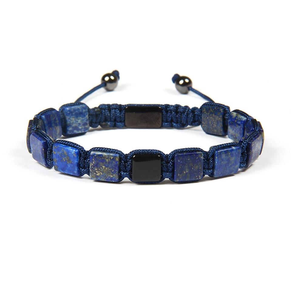 Ailatu 8x8mm Natural Lapis Lazuli Square Stone Flatbed Macrame Bracelet for Couples Lover Fashion Gift