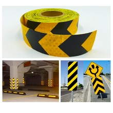 5 Cm X 10 M Pijl Veiligheidswaarschuwing Conspicuity Reflecterende Roll Tape Markering Film Sticker Voor Wegenbouw Let Sticker
