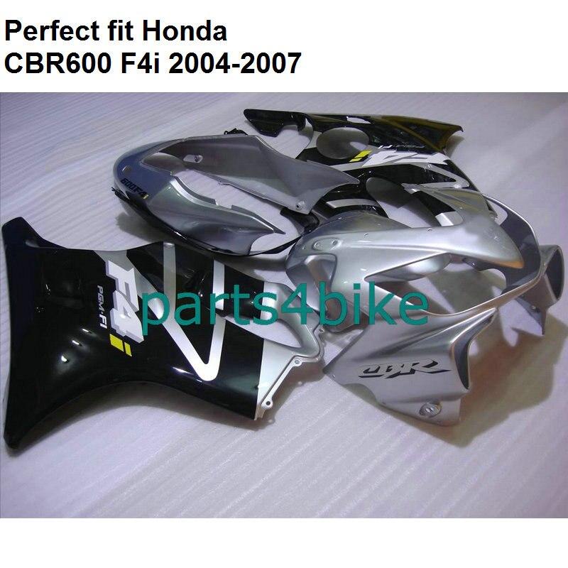 Moulage par Injection carénages pour Honda CBR600 F4i 2004 2005 2006 2007 argent noir carénage kit CBR600F4i 04 05 06 07 HZ128