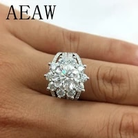 aeaw moissanites engagement ring 7mm 3ctw df color lab diamond accent 14k white gold wedding rings for women