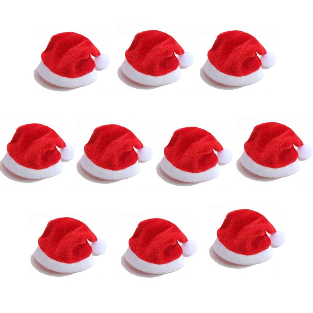 10 pçs/lote Moda Mini Chapéu de Santa Do Natal Copo Tampa de Garrafa de Artesanato Acessórios Para Casa de Presente de Natal Decorações de 20% off