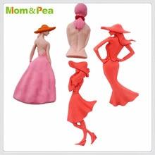 Moule en Silicone maman & pois 3D   Moules en forme de Silicone pour femmes, décoration gâteau Fondant, moule de qualité alimentaire