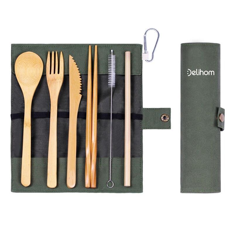 Utensils Wooden Travel Cutlery Set Reusable Utensils With Pouch Camping Utensils Zero Waste Fork Spoon Knife Flatware Set