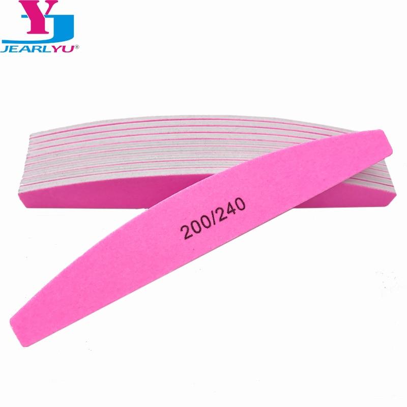 High Quality 10 X Pink Nail File 200 240 Srong Lima Buffer Acrylic Nail Files Manicure Pedicure Half Moon Sanding Foam File Nail