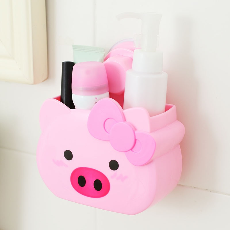 Bonito cerdo rosa de dibujo animado Pared de baño almacenamiento con ventosas Rack hermoso animal cerdo vaca Rana caja de almacenamiento
