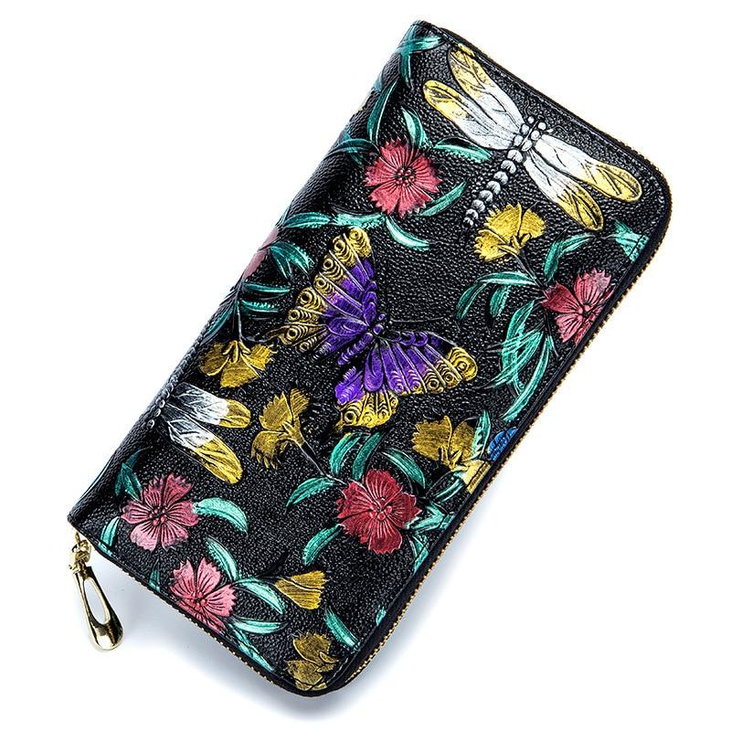 Женский кошелек RFid, из натуральной кожи, женские кошельки с цветами и бабочками, держатель для карт, на молнии, цветная ручная сумка для теле...