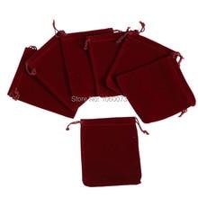 50pcs 9*12cm Velluto Drawstring Del Sacchetto Del Sacchetto Dei Monili Del Sacchetto Di Natale Wedding Gift Bag vino rosso