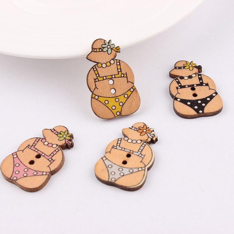 2 Furos Botão de Madeira Mista Moda Biquíni Padrão Scrapbook Artesanato Botões Mix 50 pcs Vestuário Botoes Accessories30 * 19mm
