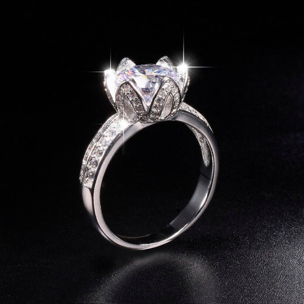 Акция! 8 $ Настоящее твердое 100% Серебро 925 пробы кольцо с цветком лотоса Свадебные украшения для женщин 2ct имитация бриллианта обручальное кольцо