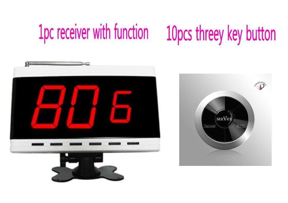 Sistema de servicio inalámbrico, sala de visualización del receptor de pantalla/Número de mesa y solicitudes del cliente, botón de llamada de camarero de tres teclas de 10 piezas