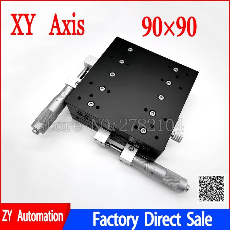 XY محور 90*90 مللي متر التشذيب محطة النزوح اليدوي منصة الخطي المرحلة انزلاق الجدول XY90-LM XY90-C LY90-R عبر السكك الحديدية