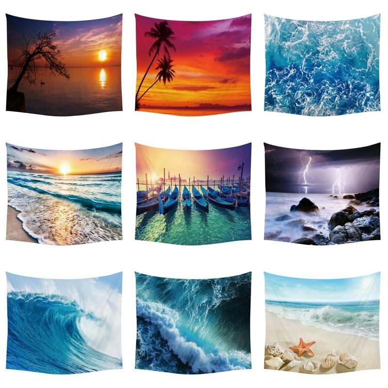 Солнцезащитный гобелен с морской тематикой, Пляжное Настенное подвесное покрывало из полиэстера ручной работы