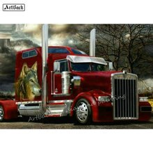 5D Diamant Schilderij Truck Foto Volledige Vierkante Auto Strass Mozaïek kruissteek Truck Wolf Stok Boor Borduurwerk
