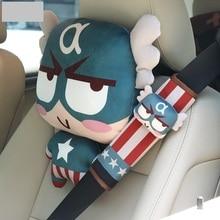 Araba emniyet kemeri omuz kapak sevimli karikatür araba emniyet kemeri kapak takı Batman Örümcek Adam Kaptan Amerika Deadpool