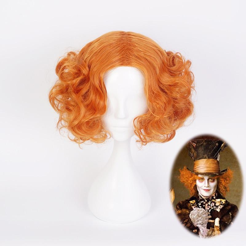 Peluca corta con rulos de color rojo anaranjado Mad Hatter de Alicia en el país de las Maravillas disfraz de Tarrant Hightopp pelucas de pelo sintético resistentes al calor