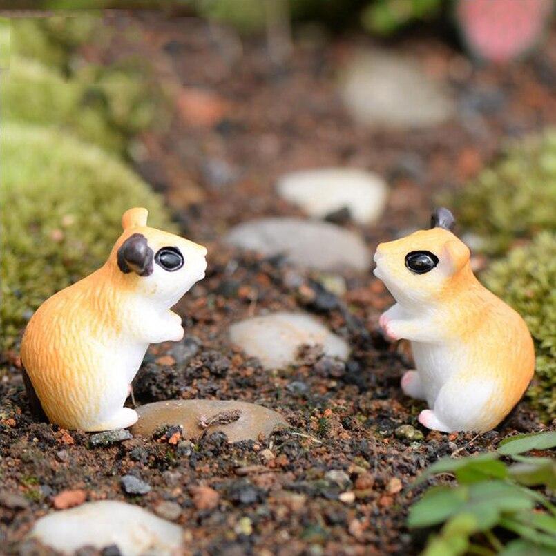 Kawaii anime mini hamsters mouse animais casa micro fadas jardim estatuetas miniaturas/terrário boneca casa decoração diy acessórios