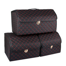Luxury PU Leather trunk organizer Box Storage Bag Folding Folding Car Trunk Stowing Tidying With Met