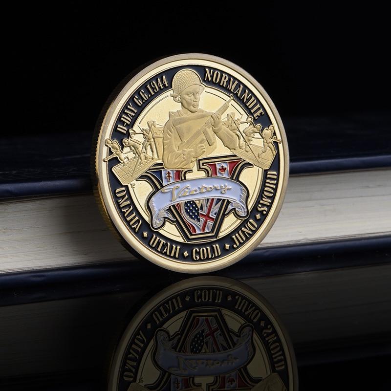Moneda conmemorativa de aniversario de la Segunda Guerra Mundial, Medalla Militar, insignia entusiasta militar Normandía Landing 70th