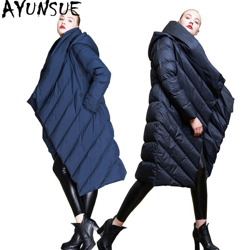 AYUNSUE 2018 New Down Jacket Women Irregular Jackets Winter Womens Parka Long Coat Hooded Womens Jackets Camperas Mujer KJ598