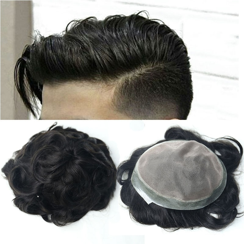 Hair Toupee Men Natural Looking Mono System 100% European Human Hair Toupee PU Replacement System 1# Color VenVee Remy Hair