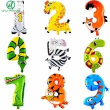 1 pièces 16 pouces Animal numéro feuille ballons enfants fête décoration joyeux anniversaire mariage décoration Ballon cadeau