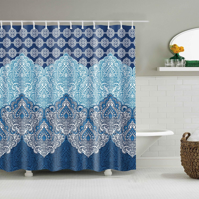 Cortina de ducha resistente al agua, cortina de baño Extra larga de 150x200 cm, cortina de baño con Mandala opaca para baño, cortinas de baño