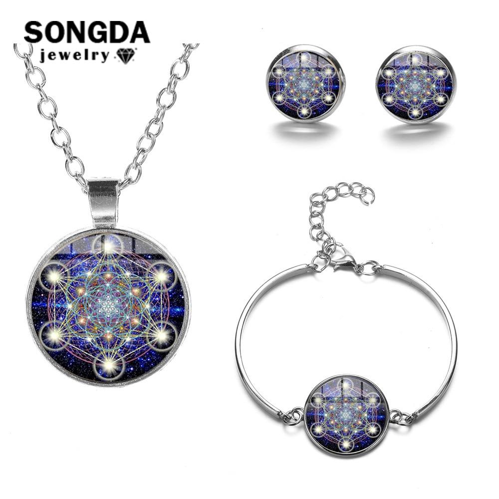 Conjunto de joyas de cubo de Metatrón de Geometría Sagrada SONGDA, signo cósmico misterioso, flor de la vida, collar de declaración, pulsera, pendientes, Set