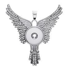 6PCS metal eagle wings 3 color crystal button snaps necklace pendant fit 18mm DIY alloy snap button charm fashion accessories