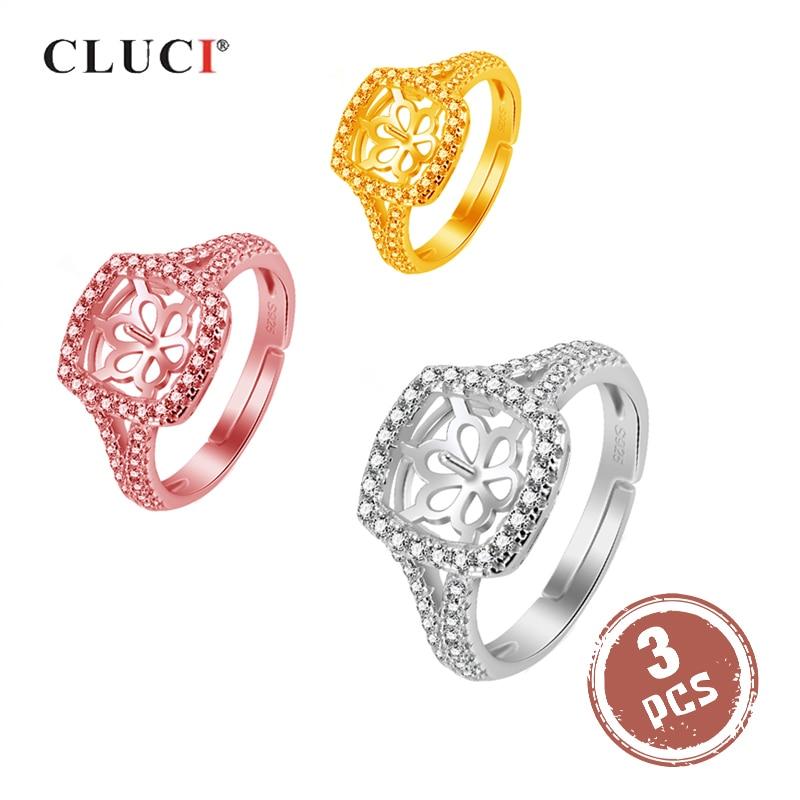 CLUCI 3 uds anillos de plata 925 para mujer, anillo cuadrado de circonio con perlas, anillo de Plata de Ley 925, anillos de boda ajustables SR2133SB
