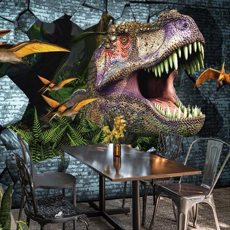 Foto de pared personalizada papel 3D dinosaurios pared pintura Mural papel tapiz dormitorio KTV Bar telón de fondo pared murales papel tapiz decoración del hogar