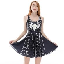 Nueva S a 4xL 3D araña impresa mujeres negro Skater vestido sin mangas azul Animal vestidos sin mangas impresos de talla grande